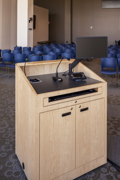 custom podium in a lecture hall