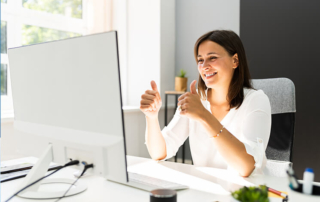 Happy Business Woman In Video Conferencing Call